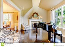 Yellow Living Room House Interioryellow Living Room With Fireplace Stock Photo