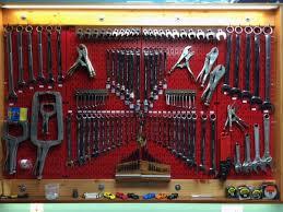 32in x 16in red metal pegboard tool