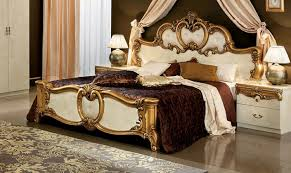 wooden furniture design bed. Barocco Ivory/Gold Panel Bed - ESF Furniture Wooden Design U