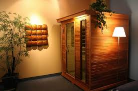 stunning ideas for wood sauna design with unique lighting