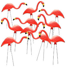 in pink flamingos plastic lawn decorations yard garden art ornaments qty flamingo outdoor decor metal