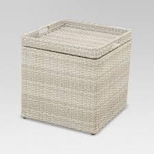 wicker storage accent patio table