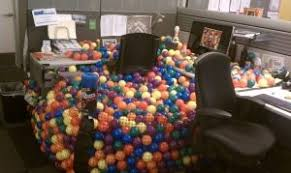 Office desk pranks ideas April Fools Desk Converted Into Ball Pit Doragoram 20 Hilarious Office Pranks