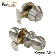 Probrico Round Stainless Steel Keyed Alike Entrance Door Lock With ...