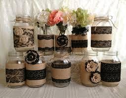 Burlap Decor 10x Rustic Burlap And Black Lace Covered Mason Jar By Pinkyjubb