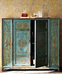 moroccan inspired furniture. Teal And Gold Moroccan Style Wooden Cabinet Painted By Hand From Horchow Im Inspired Furniture M