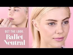 ballet neutral makeup look soft pink blush lipstick tutorial