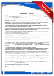 Findlegalforms' instantly downloadable shareholder agreements. Free Printable Shareholders Agreement Form Generic