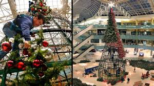Time-Lapse: Galleria Dallas Christmas Tree is raised and decorated - YouTube