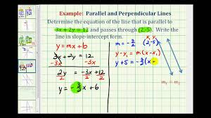 ex 2 find the equation of a line parallel to a given line passing through a given point