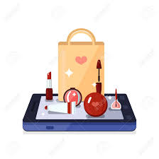 colored beauty position with set of beauty toolakeup instruments on smartphone vector