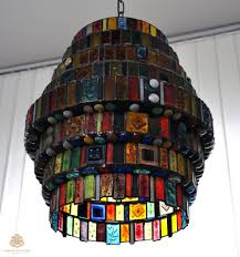 tiffany chandelier made with fused glass colored in the mass and burnt in the oven at various temperatures