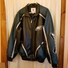 details about vintage mens nfl philadelphia eagles leather jacket coat size medium