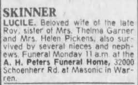 Obituary for LUCILE SKINNER - Newspapers.com