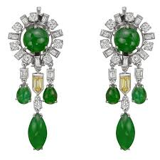 jade multicolored diamond chandelier earrings for