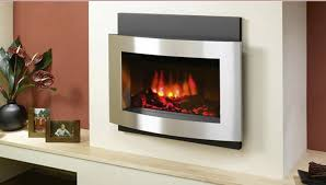 image of silver wall mount electric fireplace