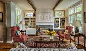 cozy living room with fireplace. Fireplace In Cozy Country Living Room With Stone Surround And White Built Cabinet Above Mantel R