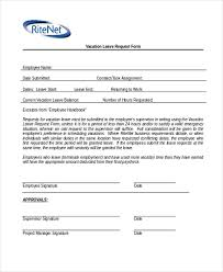Sample Vacation Request Form Free 9 Sample Vacation Request Forms In Pdf Word