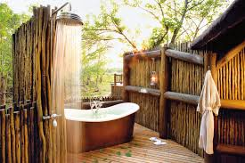 Bathroom Ideas:Amazing Simple Outdoor Shower Room Decor With Beautiful  Striped Wood Flooring And Modern
