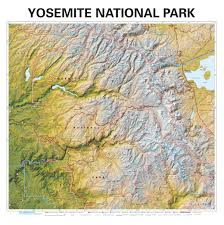 yosemite national park wall map  mapscom