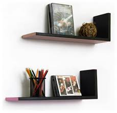 ... L Shaped Wall Shelves Floating Furniture Antique Design Long Square  Black Stayed Rack Thin Strong Wooden ...