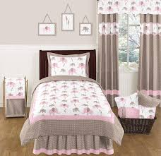 pink and taupe mod elephant childrens and kids bedding 4pc twin set by sweet jojo designs only 119 99
