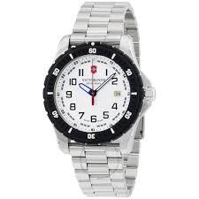 victorinox men s watch analog display swiss quartz silver 241677 victorinox swiss army white dial stainless steel men s watch 241677