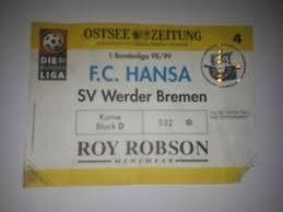 The percentage numbers show the games with specific stats compared to the total games played by each team. Sammler Ticket 98 99 Fc Hansa Rostock Werder Bremen Ebay