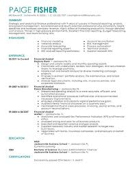 Financial Analyst Resume Templates Contemporary ...