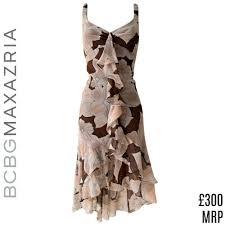 Bcbg Max Azria Designer Details About Bcbg Dress Silk Floral Brown Pink High Low