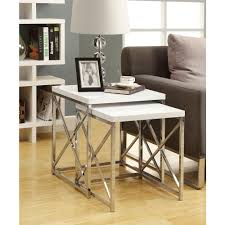 monarch specialties glossy white 2 piece nesting end table