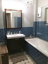 Minibad Nach Sanierung Blaue Metrofliesen Adex Dunkelbraune