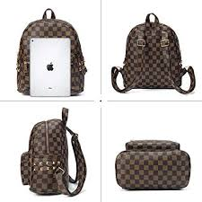 Checkered <b>Fashion Leather</b> Backpack for Women <b>Casual</b> Daypacks ...