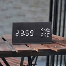 Digitaler Wecker 3 Alarmeinstellungen Mit Hölzerner Elektronischer Led Zeitanzeige Erkennung Der Doppelten Luftfeuchtigkeit Ideal Für