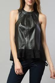esley faux leather top front full image