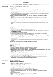 Sample Resume For Clerical Clerical Associate Resume Samples Velvet Jobs 21