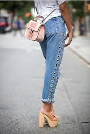 2093 New 2017 Fashion Rivets Ripped High Waist Jeans