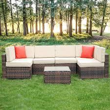 6 seater rattan garden corner sofa