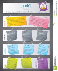 Modern Resume Color Modern Resume Cv Template With Post Its And Color Tapes