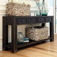 sofa table.  Sofa Sofa Table Most Recommended Design Bold Heavy Distressed Black Stained  Narrow Rectangle Solid Wood Console Storage Drawers Lower Shelf Feature Tables  And