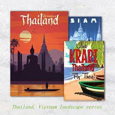 Thailand Vietnam Landschap Serie Foto Canvas Kunst Posters En