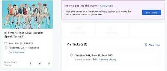 The Rose Seating Chart Pasadena One Bts Ticket Rose Bowl La 5 5 Section A1 Floor 350 00