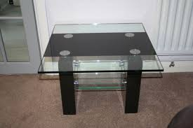 black marble and glass side table with shelf measures 60 x 60 cms 42 cms tall vg condition