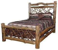 Rustic Pine Log Queen Size Twig Bed, Clear Varnish