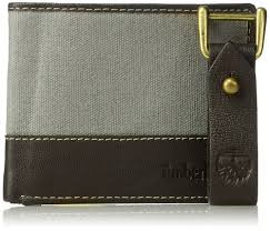 timberland mens canvas and leather bifold wallet with leather key fob gift set 0
