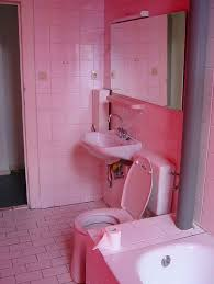 Bathroom:Cute Pink Bathroom With Sharp Pink Wall Paint Complete White  Bathtub And Sink Contemporary