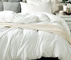 white bedding made from medium weight linen queen duvet cover set carrara full in grey