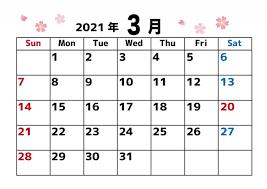 カレンダー 2021 3 月