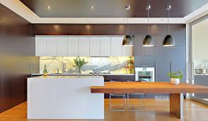 Kitchen Beautiful White Brown Wood Stainless Modern Design L Shape Kitchen