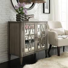 Inspired By Bassett Storage Cabinet Cortona Scroll Antique Mirrored Double Door Side Chest Brown Silver 22
